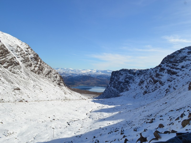 view from bealach na ba down to achintraid (the chalet is by the loch at the bottom)